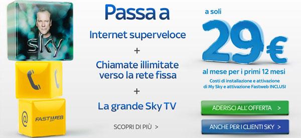 Sky e Fastweb: offerta tv e internet