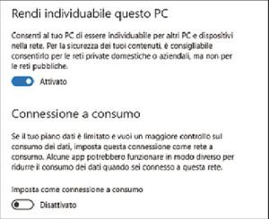 Connessione Internet a consumo in Windows 10