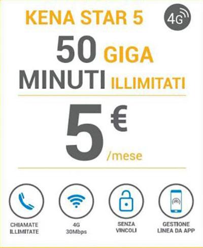 Kena Mobile, minuti illimitati e 50 GB a 5 euro al mese