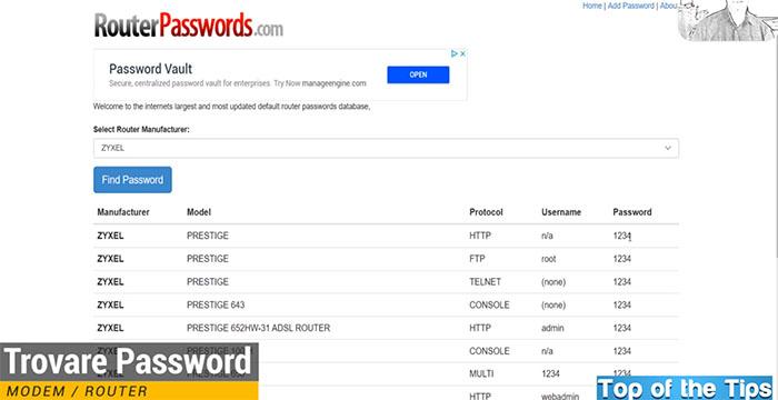Servizio per trovare password router